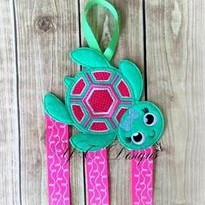Smiley Turtle Klippie Keeper Clippie Holder Digital machine embroidery file in multiple sizes