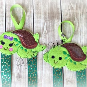 Smiley Turtle 2 Klippie Keeper Clippie Holder Digital machine embroidery file in multiple sizes