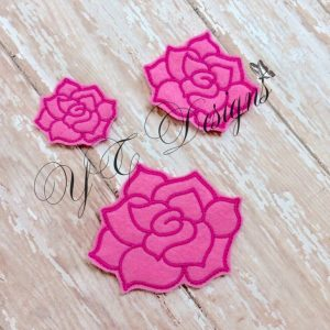 Rose Satin Machine Embroidery feltie File in multiple sizes