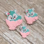 Teacup kitty machine embroidery feltie file in multiple sizes