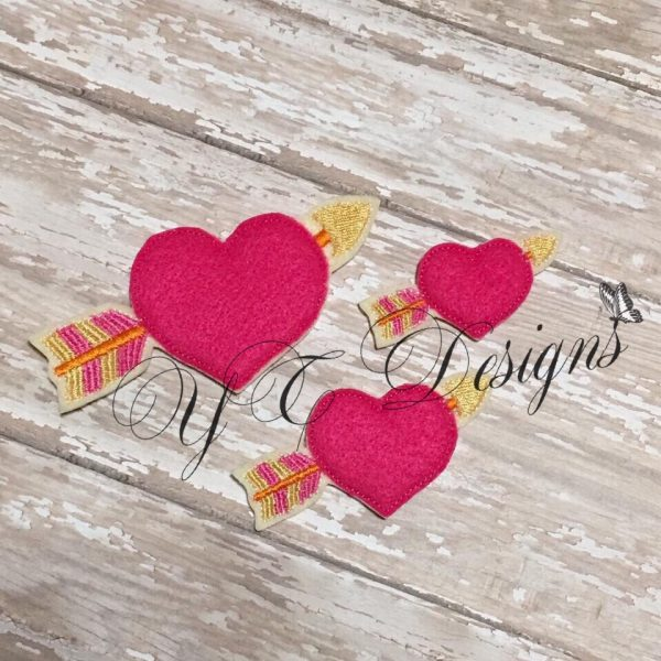 Heart with Arrow 2 Digital machine embroidery feltie file in multiple sizes