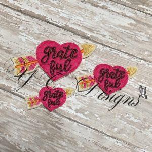 Heart with Arrow Grateful wordie Digital machine embroidery feltie file in multiple sizes
