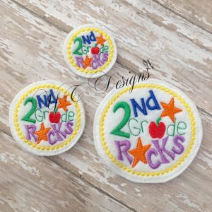 2nd Grade Rocks Digital machine embroidery feltie File in multiple sizes
