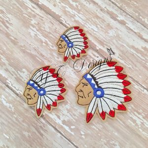 Indian Native Chief warrior Head Digital machine embroidery feltie file in multiple sizes