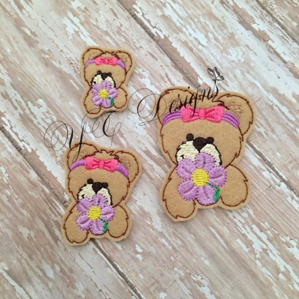 Spring Teddy 1 Head machine embroidery feltie file in multiple sizes