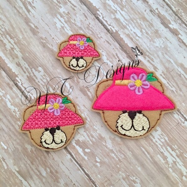 Spring Teddy 2 Head machine embroidery feltie file in multiple sizes