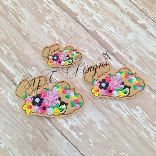 Spring Teddy 3 machine embroidery feltie file in multiple sizes