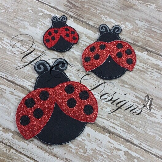 Lady Bug machine embroidery feltie File in multiple sizes