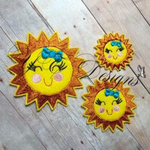 Happy Sunshine Digital machine embroidery feltie File in multiple sizes