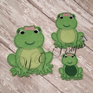 Frog Girl Digital machine embroidery feltie File in multiple sizes