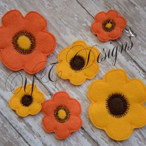 Daisy Flower 2 Digital machine embroidery feltie file in multiple sizes