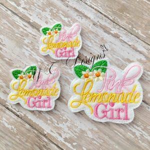 Pink Lemonade Girl with Flowers digital machine embroidery feltie File in multiple sizes