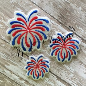 Firework 3 Digital machine embroidery feltie File in multiple sizes
