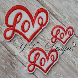 Love heart Floral Digitalmachine embroidery feltie wordie File in multiple sizes