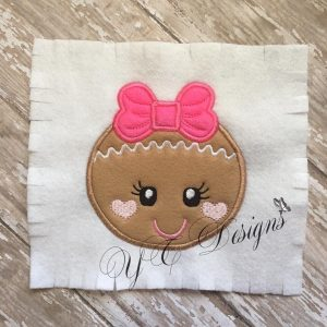Ginger Girl Head Digital machine embroidery APPLIQUE File in multiple sizes