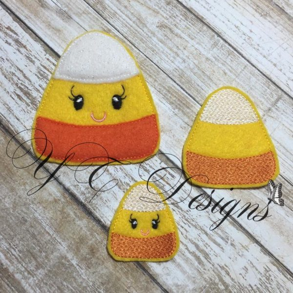 Kawaii Candy Corn Digital machine embroidery feltie File in multiple sizes