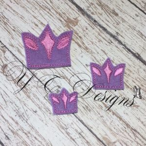 Mini Crown 2 digital machine embroidery feltie File in multiple sizes
