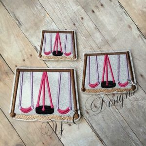 Playground Swings digital machine embroidery feltie File in multiple sizes