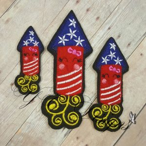 Smiley Firecracker digital machine embroidery feltie File in multiple sizes