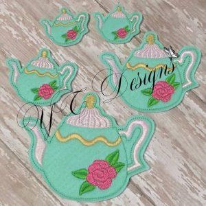 Alice kettle feltie Machine Embroidery File in multiple sizes