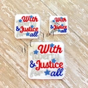 With Liberty and Justice For All wordie Embroidery File