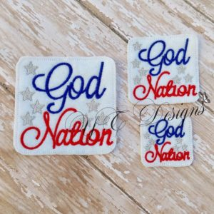 God Nation wordie Embroidery File