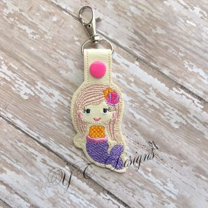 Mermaid 2 key fob Machine Embroidery File ~ 2017
