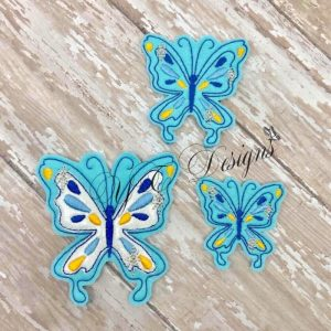 Royal Butterfly Machine Embroidery feltie File in multiple sizes
